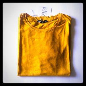 Sz,L Zara Mustard Yellow Tee Shirt.